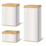 Metal Box Set. Retro Product Pack Blank Collection. Stock Photo