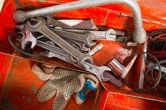 Metal box with tools inside Royalty Free Stock Photos