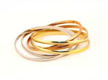 Metal bracelets gold and color silver Stock Photos