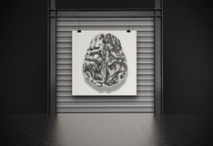 Metal brain on canvas as concept Royalty Free Stock Image