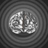 Metal brain 3d with retro graphic background. As concept Stock Photography