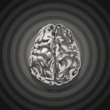 Metal brain 3d with retro graphic background Royalty Free Stock Photography