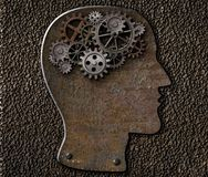 Metal brain gears and cogs. Mental illness Royalty Free Stock Photo