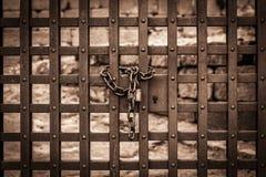 Metal brama blokował z kłódką i łańcuchem Zdjęcie Royalty Free