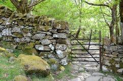 Metal brama przez kamiennej ściany prowadzi skalista ścieżka w las obraz royalty free