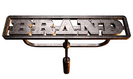 Metal Branding Brand Front. A metal cattle brand with the word brand as the marking area on an isolated background stock image