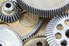 Metal brass gears from old industrial mechanism Stock Images