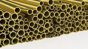 Metal brass pipe stacks Royalty Free Stock Photos