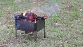 Metal brazier. In a clearing with burning wood in it stock video footage