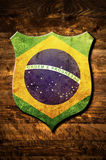 Metal Brazil shield Stock Images
