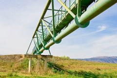 Metal bridge across a valley (from below) Royalty Free Stock Photos