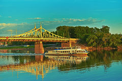 Metal bridge in city of Tver Royalty Free Stock Images