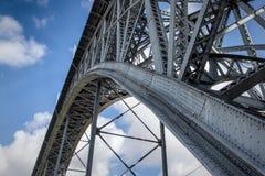 Metal bridge. Detail of the Ponte Liuz I in porto, Portugal stock photo