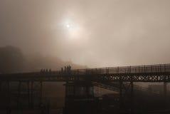 Metal bridge fog scene - Paranapiacaba - Brazil stock images