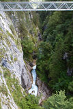 Metal bridge inside the Leutasch Gorge in Bavaria Royalty Free Stock Images