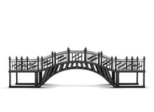 Metal bridge isolated on a white background. 3d rendering Stock Photography