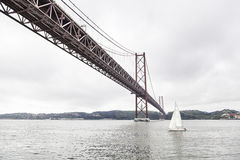 Metal bridge in Lisbon Royalty Free Stock Image