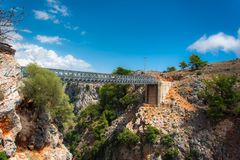 Metal Bridge over the Aradena Canyon, Chania, Crete. Royalty Free Stock Image