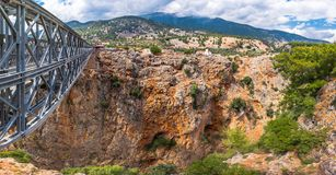 Metal Bridge over the Aradena Canyon, Chania, Crete. Royalty Free Stock Photo