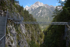 Metal bridge over a gorge in Bavaria Stock Photos