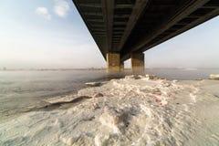 A metal bridge over the icy. Enisey river in Krasnoyarske Stock Photography