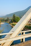 Metal Bridge over a River in Washington State Stock Images