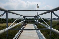 Metal bridge overpass. Camera Metal bridge overpass construction Stock Image