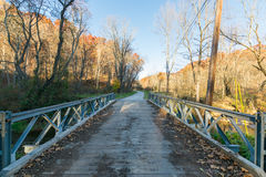 Metal Bridge Overtop the River in BeeTree Preserve in Parkton, M stock images