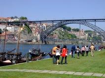 Metal bridge and people walkin Royalty Free Stock Photography