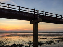 Metal bridge by the reservoir Stock Photos