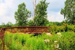 Metal bridge. Small bridge photographed in the city of Terrebonne, Quebec, Canada Royalty Free Stock Image