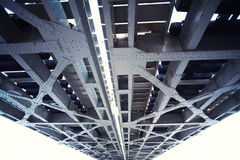 Metal bridge structure. Large metal bridge structure seen from below Royalty Free Stock Image