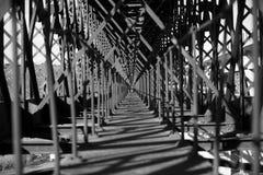 Metal bridge train Royalty Free Stock Photo