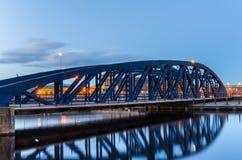 Metal Bridge at Twilight Stock Photos