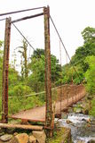 Metal bridge on the way to Pozos de la Caldera village, Panama. Stock Images