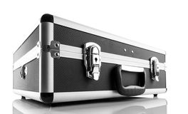 Metal briefcase isolated on white background Stock Photos