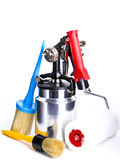 Metal brilliant Spray gun And brush Royalty Free Stock Photography