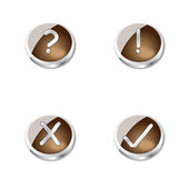 Metal brown buttons or icons. 4 beautiful brown metal buttons or icons, depends from the view of the person. Can be used on webpages or in some presentations, or Royalty Free Stock Image