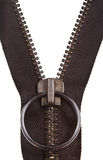 Metal brown zip fastener close up Royalty Free Stock Photos