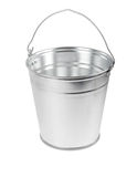 Metal bucket. Empty metal bucket isolated over white background stock photo