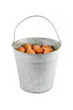 Metal bucket of eggs Stock Photo