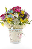 The metal bucket with flowers Royalty Free Stock Photography