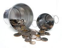 Metal bucket full with coin Royalty Free Stock Photo