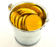 Metal bucket with gold coins Royalty Free Stock Images