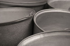 Metal bucket with handle grey colour. Cast-iron stock image