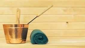 Metal bucket and towel. Stock Image