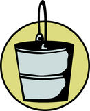 Metal bucket vector illustration. Vector illustration of a metal bucket with handle Royalty Free Stock Photo
