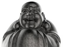 Metal Buddha statue closeup. 3D render illustration of a closeup of a Buddha statue. The composition is isolated on a white background with no shadows stock illustration