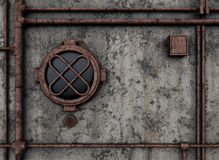 Metal bulkhead with porthole Royalty Free Stock Images