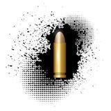 Metal Bullet on Black Splatter Background. Metal Bullet on Black Ink Grunge Splatter Background Royalty Free Stock Image
